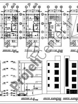 پلان ساختمان مسکونی ۳طبقه ۶*۱۰.۴۰