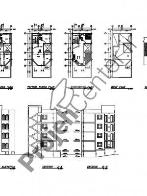 پلان مسکونی ۳ طبقه ۶.۵۰*۱۰.۸۰