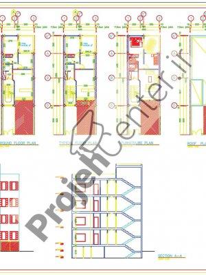 پلان ساختمان ۳طبقه۶*۱۲.۸۰