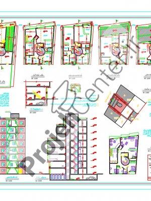 پلان ساختمان ۷طبقه ۱۸.۱۰*۱۳.۵۰