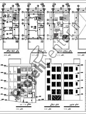 پلان مسکونی۳طبقه۶.۵*۱۰.۷۶